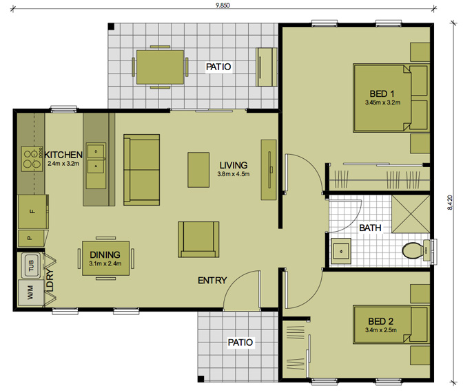 Floor plans 2 bedroom granny flats thefloors co for House plans granny flats attached