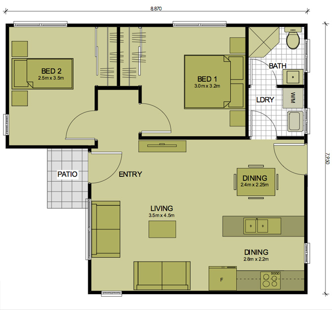 2 bedroom granny flat home decorations idea for Granny flats floor plans