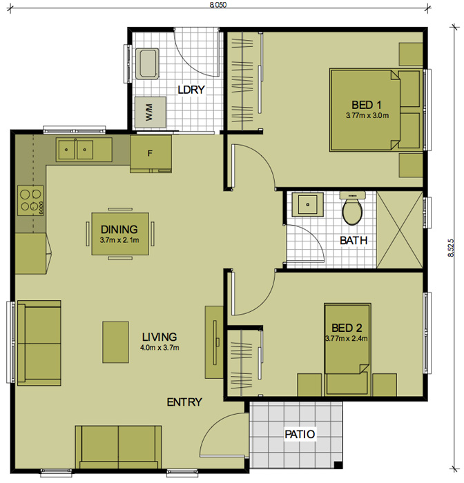 2 bedroom telopea sydney granny flats for Granny flats floor plans